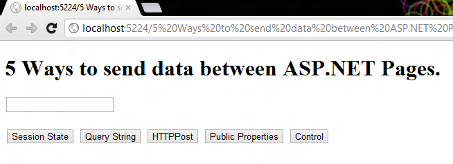 5 Ways to send data between ASP NET Pages