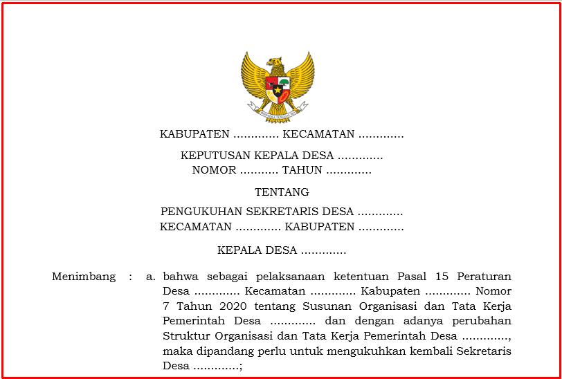 Download SK Pengangkatan Sekretaris Desa Download SK Pengangkatan Sekretaris Desa