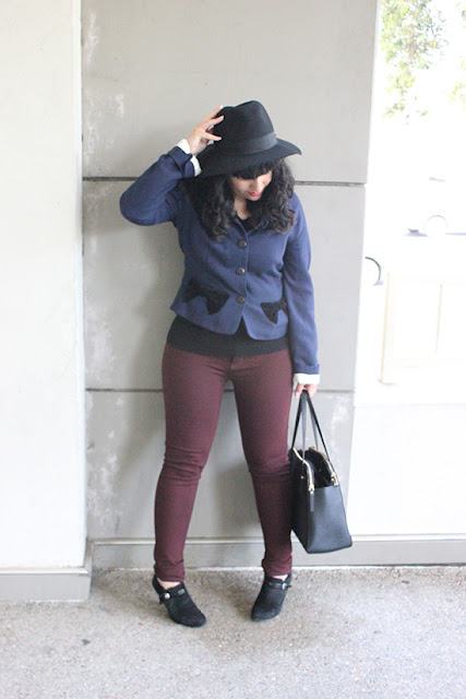 Marc Jacobs Coat Oxblood Pants Black Hat Blogger Style