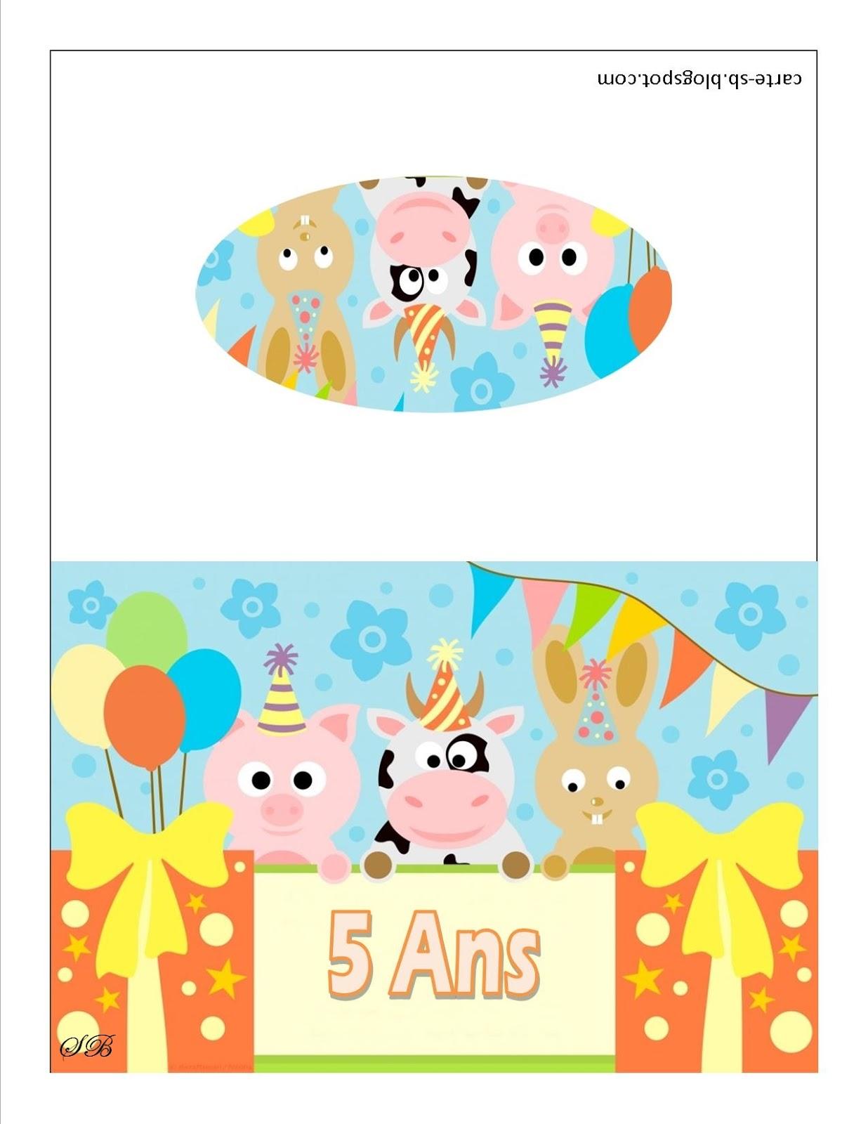 Fabuleux Carte gratuite à imprimer: carte anniversaire 5 ans à imprimer XF95