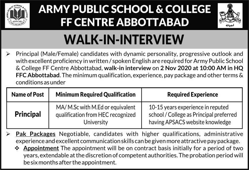 Army Public School & College APS&C Job Advertisement in Pakistan Jobs 2021-2022