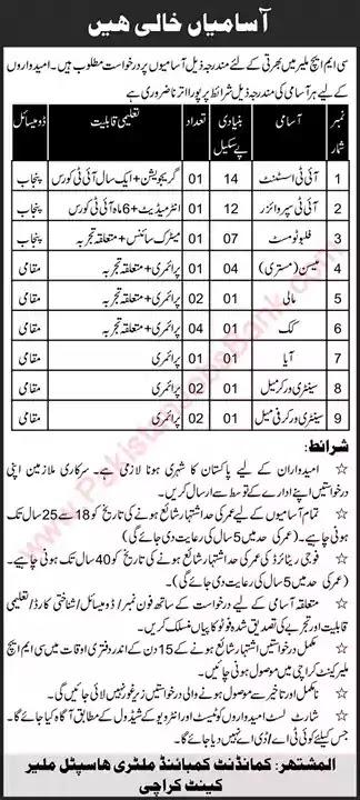 New Jobs in Pakistan CMH Malir Cantt Karachi Jobs 2021