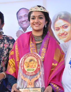 Keerthy Suresh in Saree with Cute and Awesome Lovely Chubby Cheeks Smile at Mahanati Success Tour