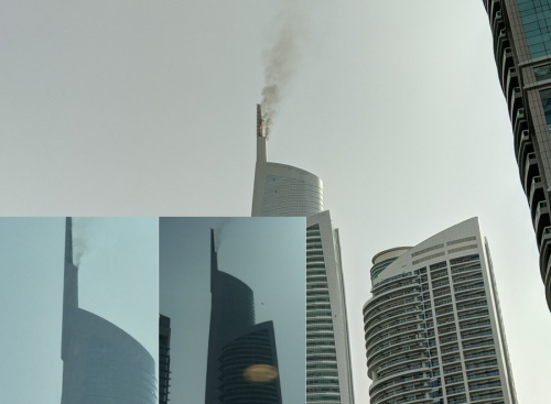 В Дубае горит Алмазная Башня.