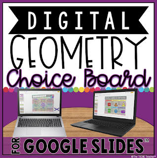 Digital Geometry Choice Board in Google Slides
