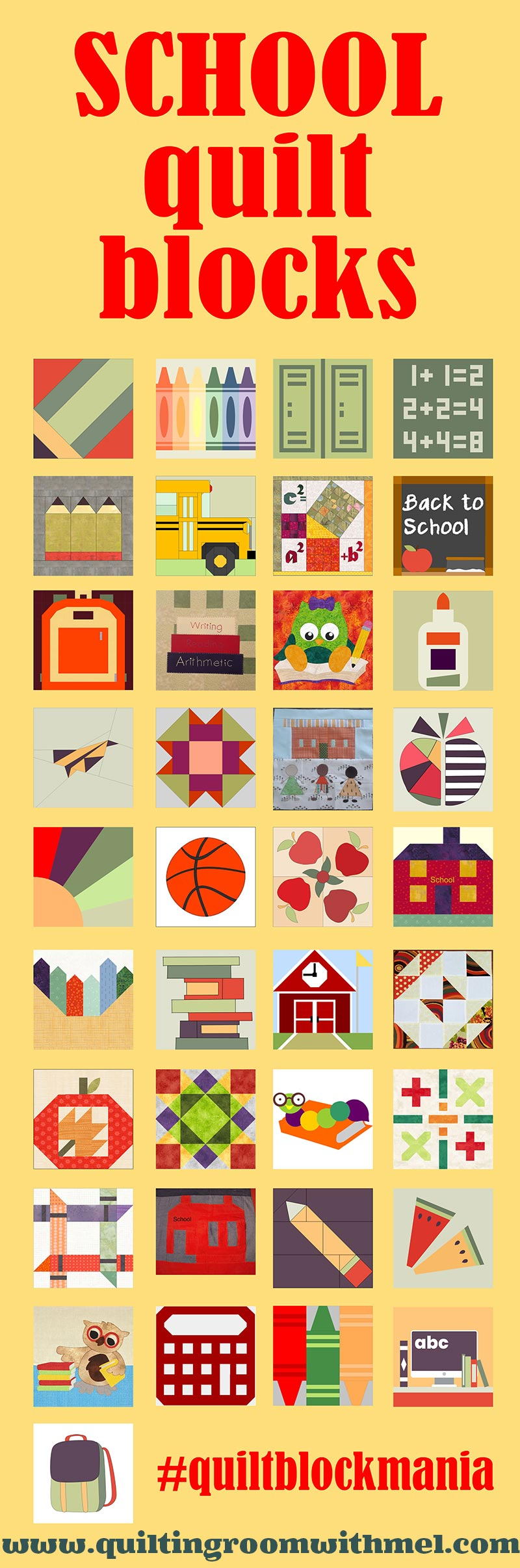 Join me and 37 other quilt designers for a quilt block mania! 38 free quilt blocks with the back to school theme