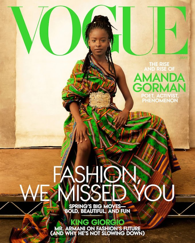 Young African American poet and activist, Amanda Gorman Wears Kente-inspired Gown Designed By Virgil Abloh For Vogue Cover