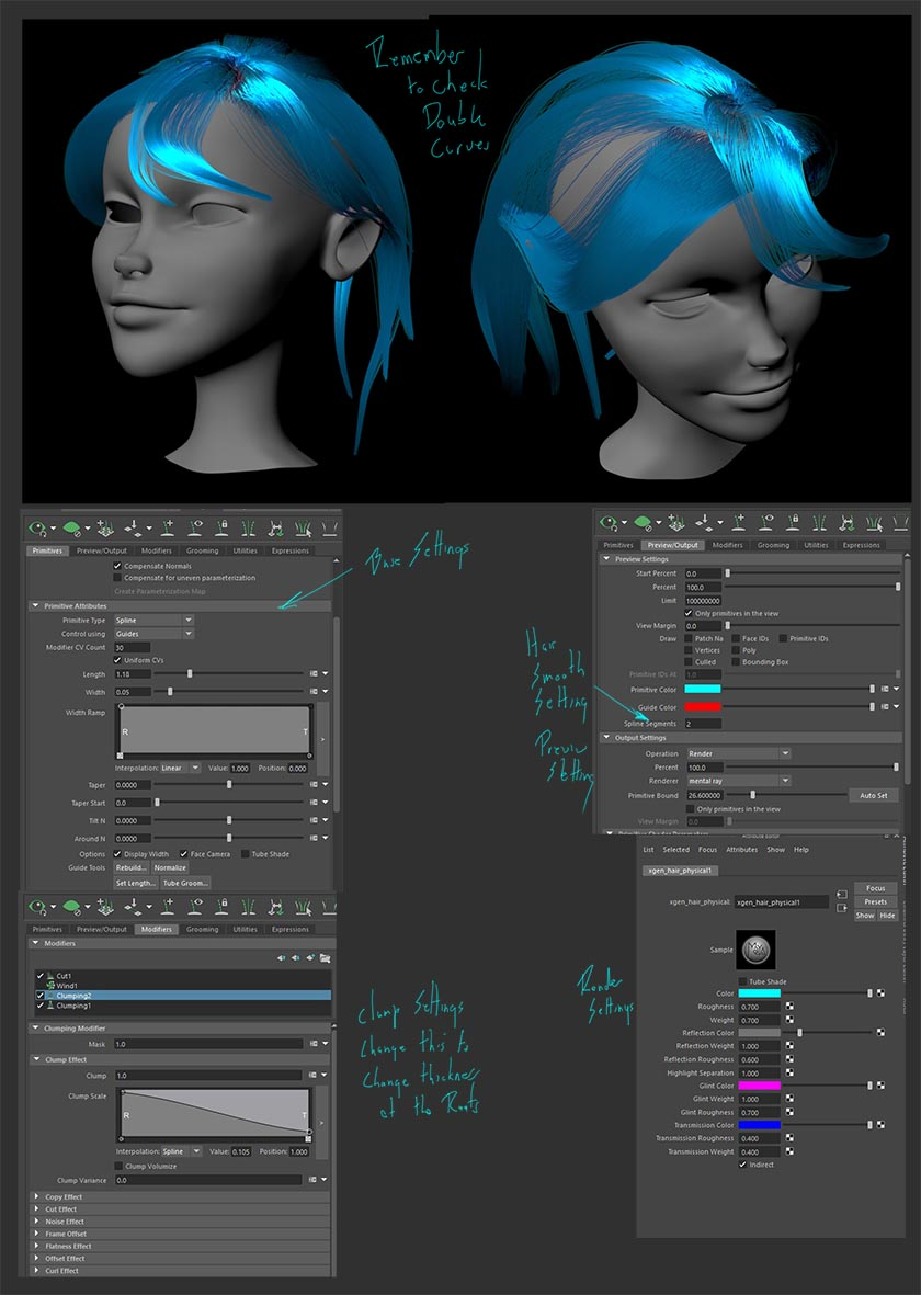 Same Base Curves As Previous, But Further Research Into Xgen Settings  Gives The Ability To Move Separate Hair Clumps Also Figured Out How To Get  A First