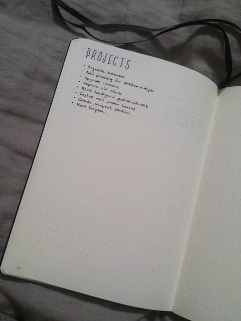 2017 Bullet Journal House Project List
