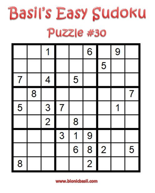 Basil's Easy Sudoku Puzzle #30 Brain Training with Cats ©BionicBasil® Downloadable Puzzle Fur Purrsonal Use Only
