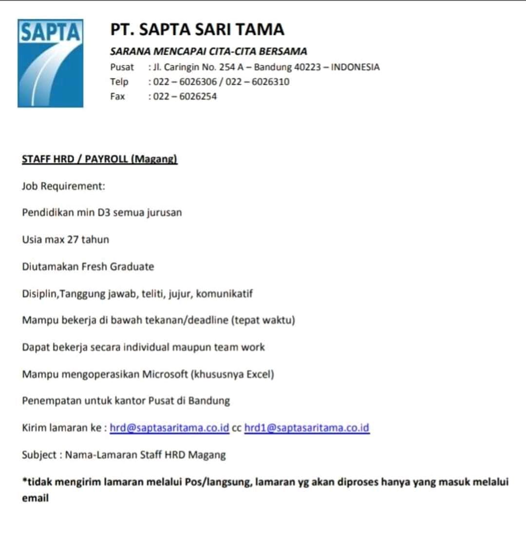 Lowongan Kerja Pt Sapta Sari Tama Bandung Jl Caringin Lowongankerjacareer Com