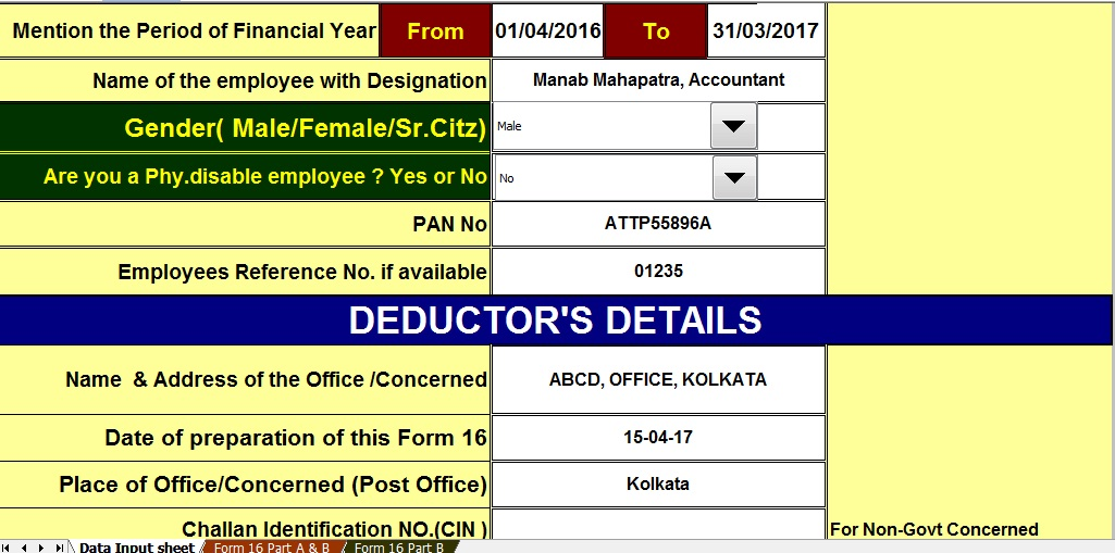 how to fill income tax form 16