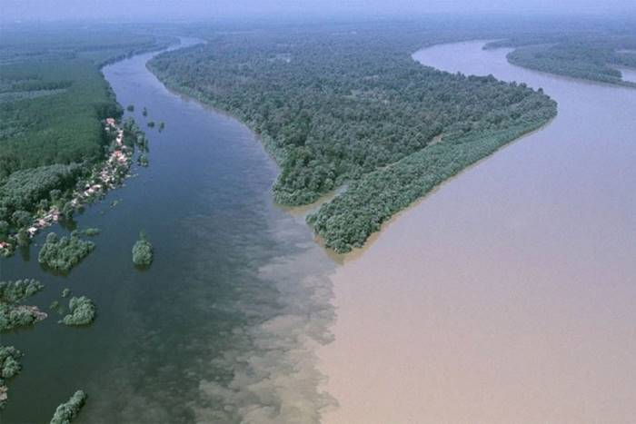 The confluence of the Drava and Danube rivers near the Croatian city of Osijek