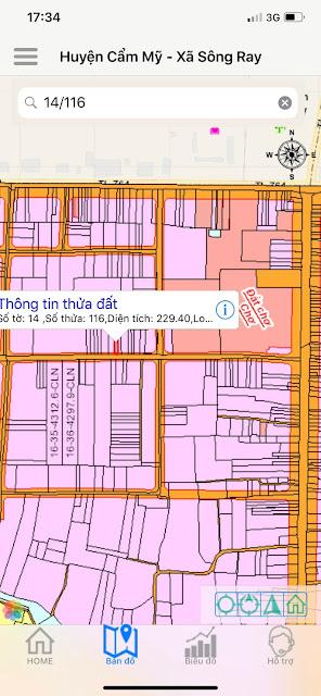 tờ 14/116 = Sông ray - Cẩm m ỹ - 6x40m có 50 thổ cư - giá 1.250tr