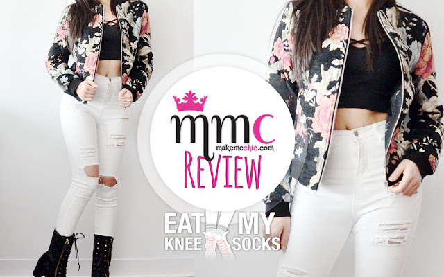 Today's fashion review features two items from Make Me Chic, including a floral embroidered bomber jacket and white distressed skinny jeans. Details ahead! -Eat My Knee Socks/Mimchikimchi