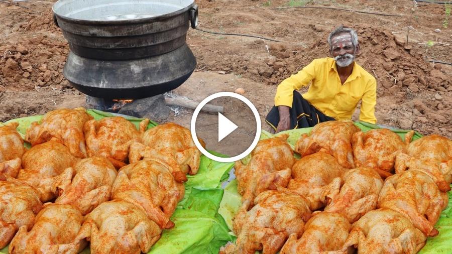 Inside BIRYANI !!! Chicken Biryani Prepared by my Daddy Arumugam / Village food factory