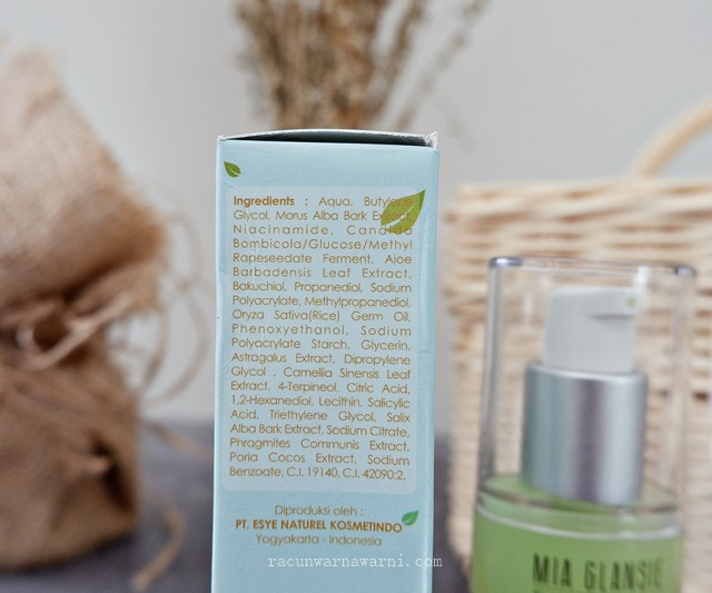 Ingredients Mia Glansie Jeju Greentea Acne Serum