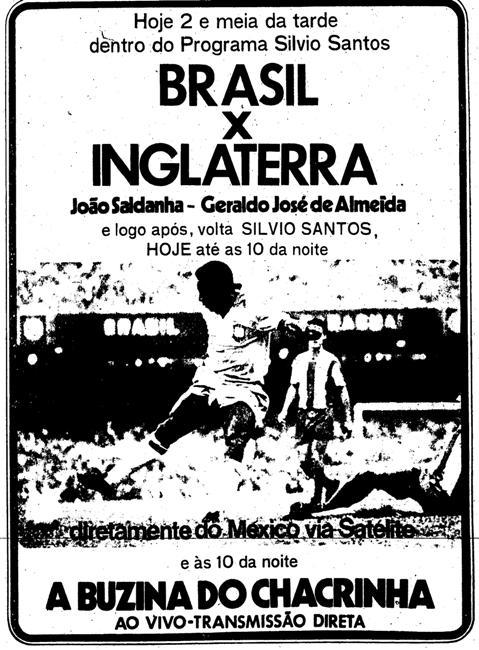 Propaganda antiga da Rede Globo promovendo a Copa do Mundo em 1970