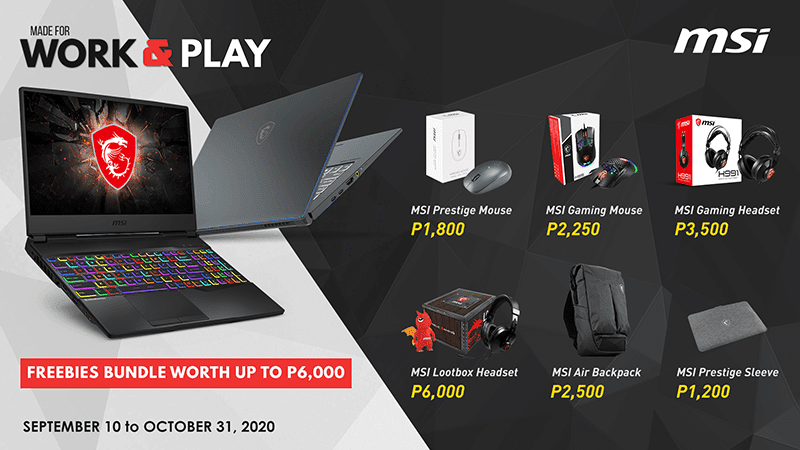 MSI Gaming Work and Play promo launched for September