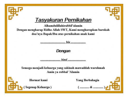 Contoh Undangan Syukuran Pernikahan