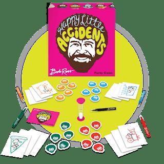 componentes del juego de mesa  Happy Little Accidents
