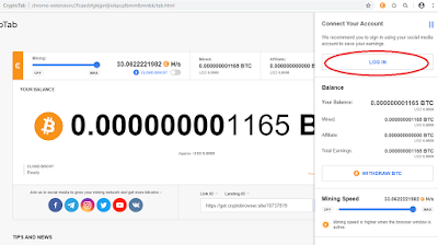 Klik Login di browser cryptotab