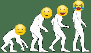 Ilustrace humoru jako důsledku evoluce: evoluce od šimpanze po člověka, kde jsou místa hlav emoji od neutrálního po vytlemeného (Sebastián Wortys)