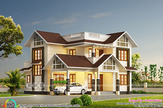 2068 sq-ft very cute sloping roof home plan