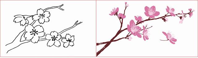 gambar-sketsa-bunga-sakura