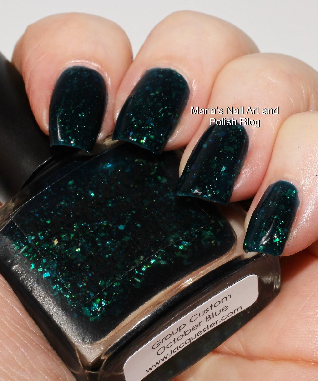October Nail Art: Marias Nail Art And Polish Blog: Lacquester October Blue