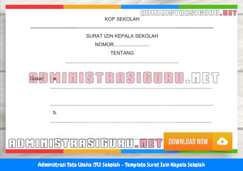 Contoh Format Surat Izin Kepala Sekolah Administrasi Tata Usaha Sekolah Terbaru Tahun 2015-2016.docx
