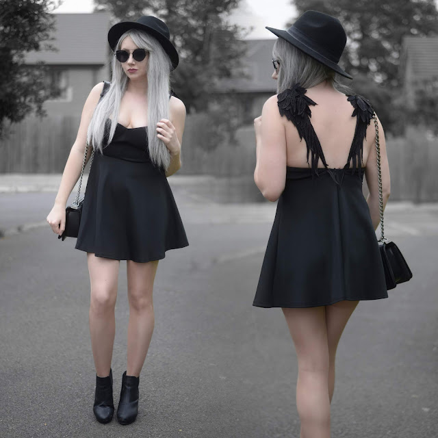 Sammi Jackson - Primark Fedora / Zaful Sunglasses / Chicwish Angel Wing Dress / Vestiaire Collective Boy Chanel Bag / Office Shoes Chunky Ankle Boots