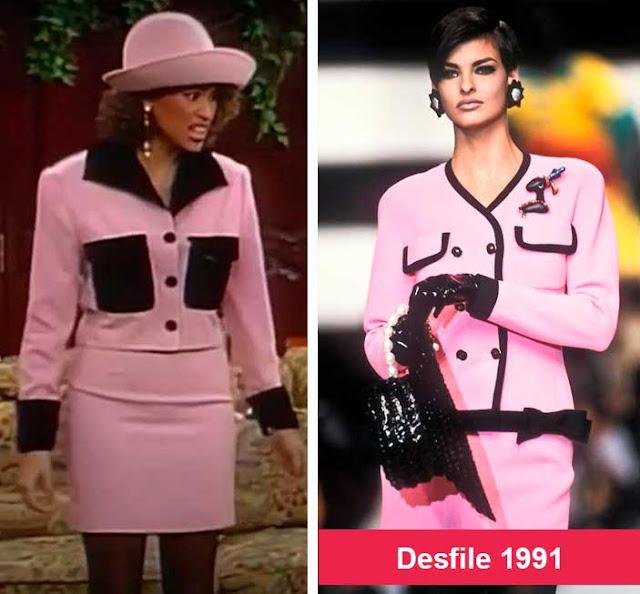 Hilary banks looks rosa e ao lado desfile anos 90