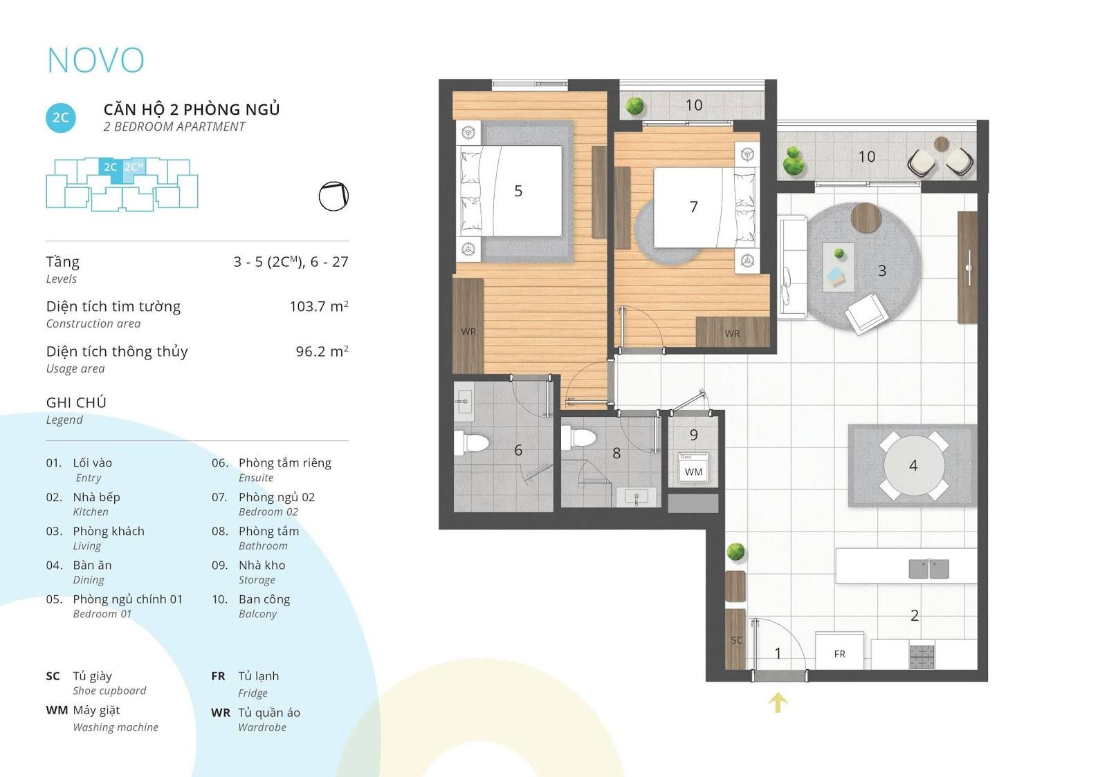 Mặt bằng căn hộ 2 phòng ngủ 96 thông thủy m2 tòa NOVO dự án Kosmo