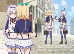 School uniforms with bare midriffs, straps and garterbelts.