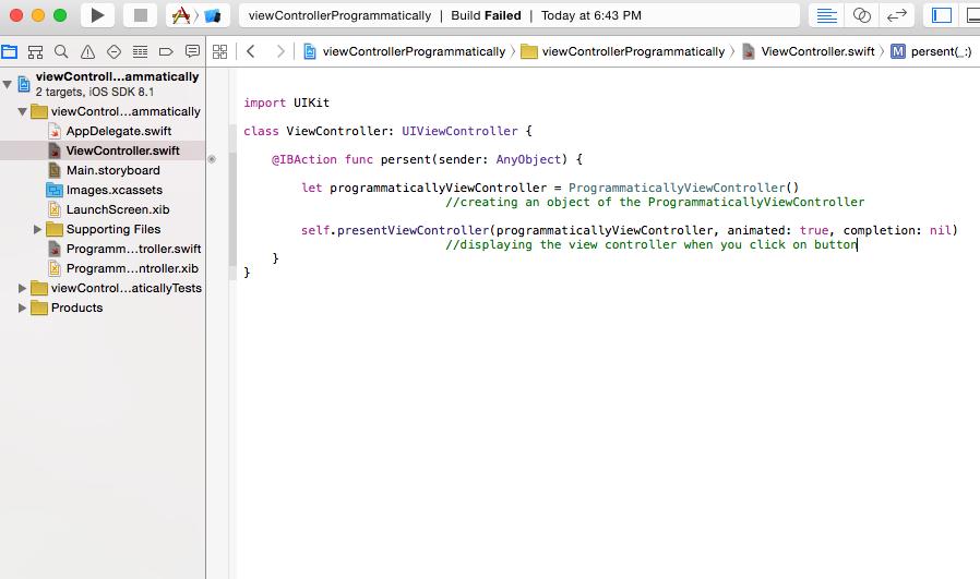 Swift World: Presenting a ViewController Programmatically in