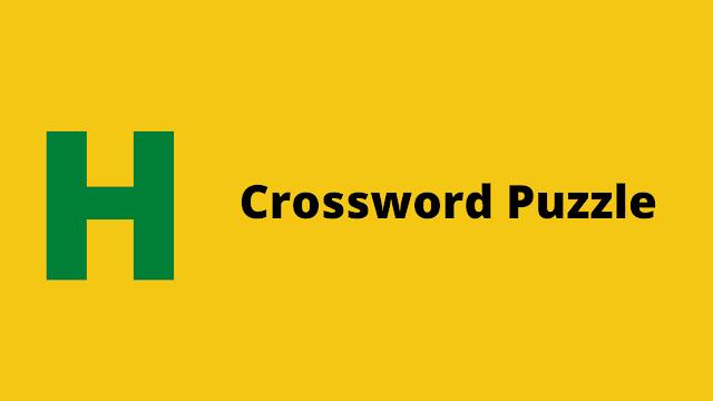 HackerRank Crossword Puzzle Interview preparation kit solution