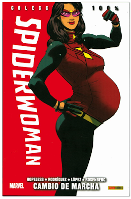 SpiderWoman cambio de marcha panini dibujado por Javi ROdríguez