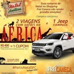 Promoção Frei Caneca Shopping Natal 2019 Viagens África e Jeep Compass
