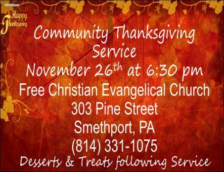 11-26 Community Thanksgiving Service, Smethport, PA