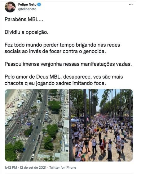 Screenshot 1087 - Esquerdista Felipe Neto faz chacota do MBL após manifestações fracassadas contra Bolsonaro: 'Passou imensa Vergonha nessas manifestações vazias'