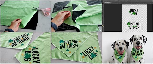 Step-by-step making DIY St. Patrick's Day dog bandanas