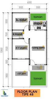 Floor Plan Tipe 48 Rumah dekat Kampus USU Padang Bulan Medan - PROMO TERBATAS - Hanya 285 Juta - Bunga Ester House