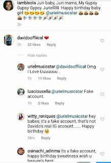 'Davido and Uriel' exchange Love on Instagram