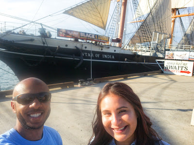 Tim and Ericka in front of the Star of India