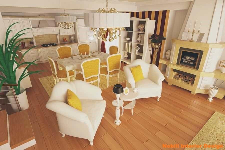 Design interior - living - cu bucatarie - casa - bucuresti