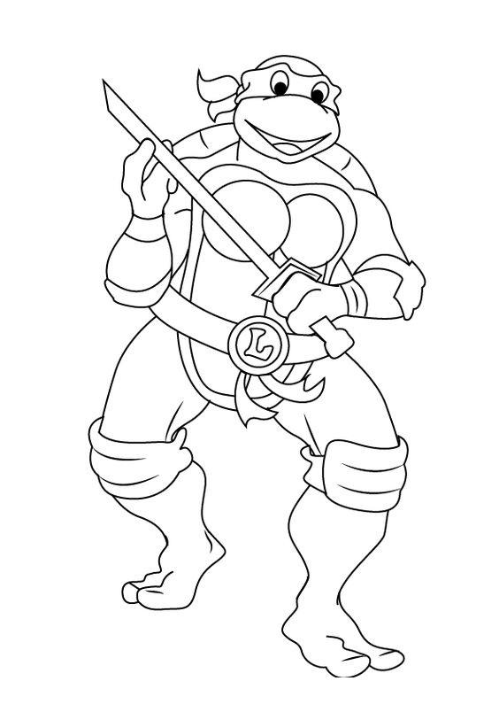 Tranh tô màu Ninja rùa 07