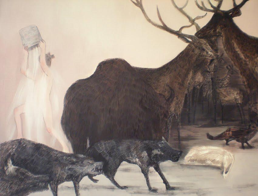 """Magdalena Burdzyńska, """"Zabawy niegrzecznych dziewczynek """", 2008, akryl na płótnie, 21 x 29 cm, fot. Magdalena Burdzyńska"""