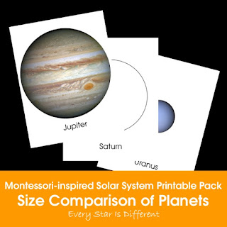 Montessori-inspired Solar System Printable Pack: Size Comparison of Planets