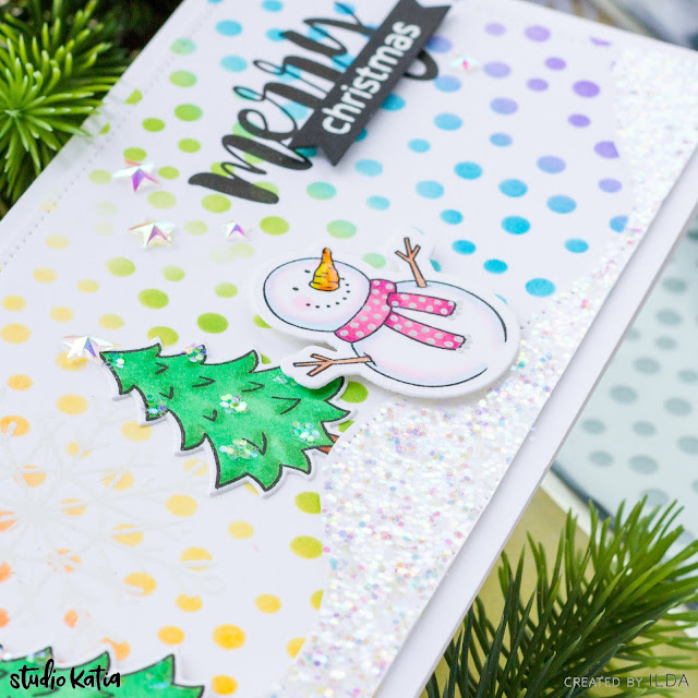 Sparkly, Bright, Merry Christmas, Slimline Card, Studio Katia, Snowman,Copic Markers, rainbow, Distress Oxide blending,Card Making, Stamping, Die Cutting, handmade card, ilovedoingallthingscrafty, Stamps, how to,